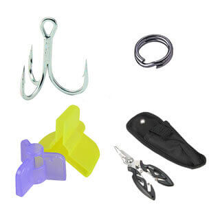 Fishing hooks, safety caps, split rings, fishing tools and accessories